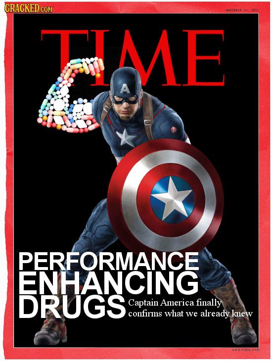 CRACKEDcO COM OVEMBER 16 2011 T ME A PERFORMANCE ENHANCING DRUGS Captain America finally confirms what we already knew wMWRImecom