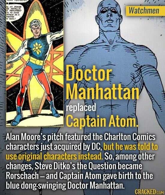 Doctor Manhattan replaced Captain Atom. Alan Moore's pitch featured the Charlton Comics