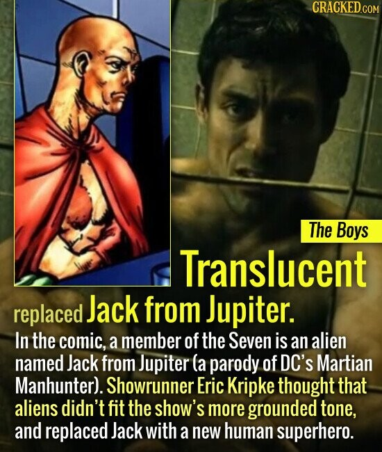 The Boys Translucent replaced Jack from Jupiter. In the comic, a member of the Seven is an alien named Jack from Jupiter (a parody of DC'S Martian Man