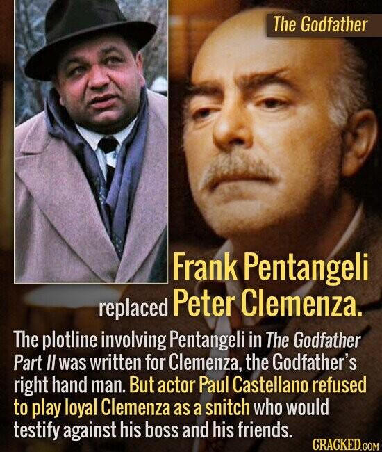 The Godfather Frank Pentangeli replaced Peter Clemenza. The plotline involving Pentangeli in The Godfather Part I was written for Clemenza, the Godfat