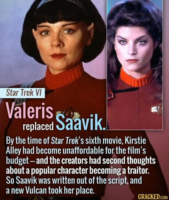 Star Trek VI Valeris Saavik. replaced By the time of Star Trek's sixth movie, Kirstie Alley had become unaffordable for the film's budget - and the cr