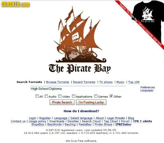 CRACKED.HO OTaPrte BalGesovrsipoortermeerhere spporter The Pirate Bay Search Torrents L Browse Torrents L Recent Torrents L TV shows L Music L Top 10