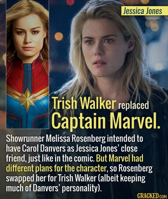 Jessica Jones Trish Walker replaced Captain Marvel. Showrunner Melissa Rosenberg intended to have Carol Danvers as Jessica Jones' close friend, just l