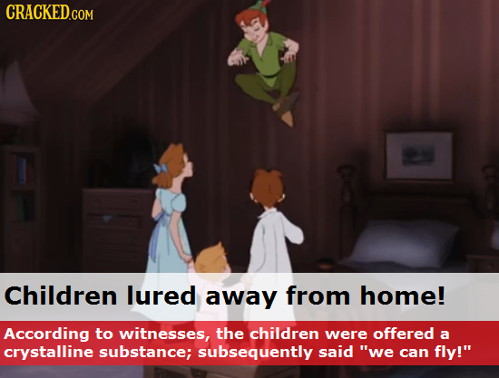 Children lured away from home! According to witnesses, the children were offered a crystalline substance; subsequently said we can fly!