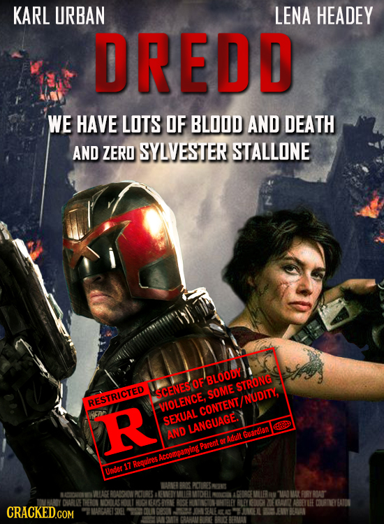 KARL URBAN LENA HEADEY DREDD WE HAVE LOTS OF BLOOD AND DEATH AND ZERO SYLVESTER STALLONE BLOODY STRONG SCENESOF SOME NUDITY, RESTRICTED VIOLENCE, R CO