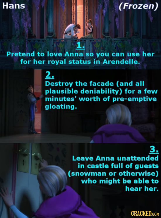 Hans (Frozen) 1. Pretend to love Anna SO you can use her for her royal status in Arendelle. 2. Destroy the facade (and all plausible deniability) for