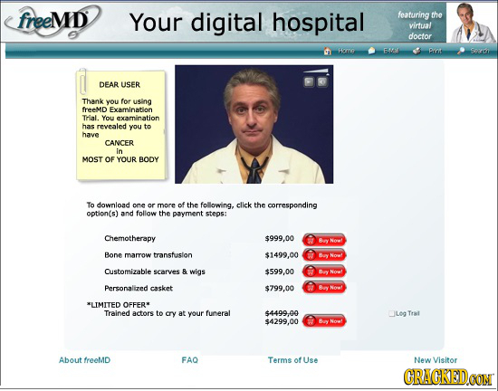 freeMD Your digital hospital featuring the virtual doctor Ha A Piis H DEAR USER Thank you for using freeMD Examination Trial. You examInaton has revea