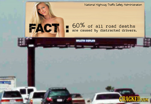 Nationai Highway Traffic Safety Administration FACT 60% of all road deaths are caused by distracted drivers. BULLETIN DISPLAYS CRACKED.COM