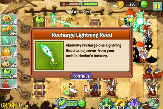 250 00 Wild Westee Day 6 SO 15 Recharge Lightning Reed RS Manually recharge one Lightning Reed using power from your 5O mobile device's battery. 25 20