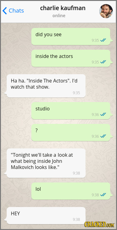 charlie kaufman Chats online did you see 9:35 inside the actors 9:35 Ha ha. Inside The Actors. I'd watch that show. 9:35 studio 9:36 ? 9:36 Tonight