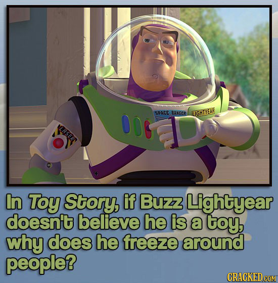 SPACE RANGER LIGHTYEAR LRSERT In Toy Story, if Buzz Lightyear doesn't believe he is a toy, why does he freeze around people?