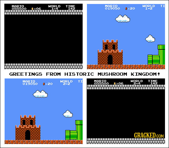 MARTO WORLD TIME MARIO WORLD TT 019050 x20 1-2 nmnmatnunamnuatgnund GREETINGS FROM HISTORIC MUSHROOM KINGDOM MARTO WORLD TI MARTO WORLD TIME 019050 x2