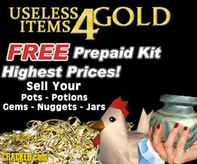 USELESS 4GOLD GOLD ITEMS FREE Prepaid Kit Highest Prices! Sell Your pots potions Gems- Nuggets Jars CRACKED coM