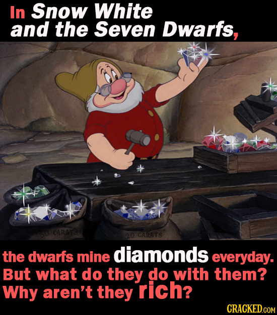 In Snow White and the Seven Dwarfs, CARATS 20 CARATS the dwarfs mine diamonds everyday. But what do they do with them? Why aren't they rich?