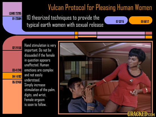 Vulcan Protocol for Pleasing Human Women LCARS 23295 10 theorized techniques to provide the 01-23584 07-3215 08-5012 typical earth women with sexual r