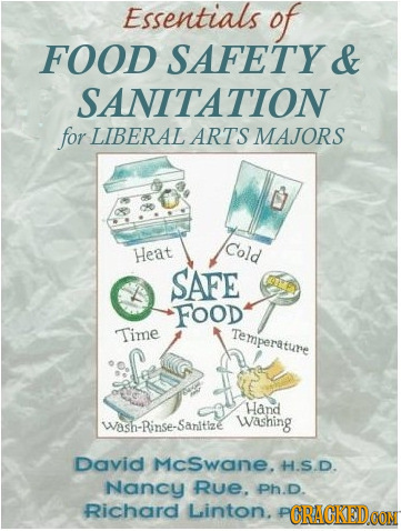 Essentials of FOOD SAFETY & SANITATION for LIBERAL ARTS MAJORS Cold Heat SAFE FOOD Time Temperature Hand Wash-Rinse-Sanitize Washing David McSwane. H.