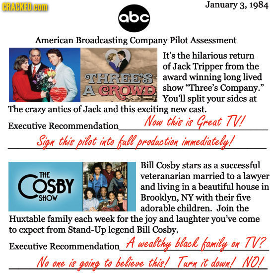 CRACKED CO January 3, 1984 abc American Broadcasting Company Pilot Assessment It's the hilarious return of Jack Tripper from the THRES award winning l
