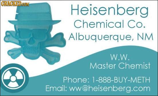 CRACKEDOON Heisenberg Chemical Co. Albuquerque, NM W.W. Master Chemist Phone: 1-888-BUY-METH Email: ww@heisenberg.com