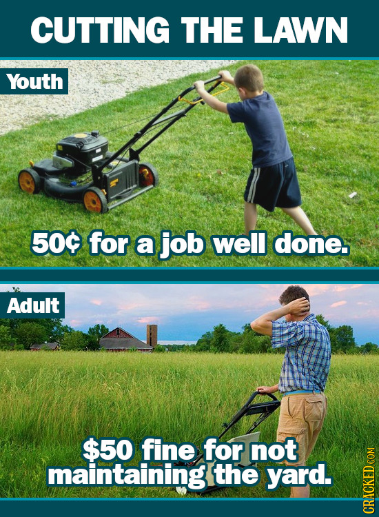 CUTTING THE LAWN Youth 500 for a job well done. Adult $50 fine for not maintaining the yard. Co