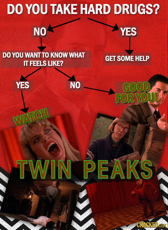 DO YOU TAKE HARD DRUGS? NO YES DO YOU WANT TO KNOW WHAT GET SOME HELP IT FEELS LIKE? YES NO GOOD FOR YOU! WATCH TWIN PEAKS CRACKEDCON