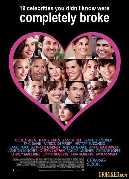 19 celebrities you didn't know were completely broke JESSICA ALBA KATHY BATES JESSICA BIEL BRADLEY COOPER ERIC DANE PATRICK DEMPSEY HECTOR ELIZONDO JA