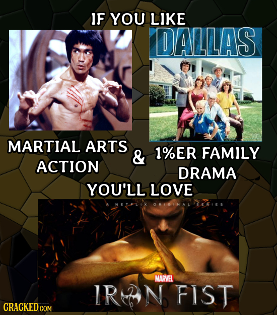 IF YOU LIKE DALLAS MARTIAL ARTS & 1%ER FAMILY ACTION DRAMA YOU'LL LOVE ORIGINAL SERES MARVEL IRTN FIST