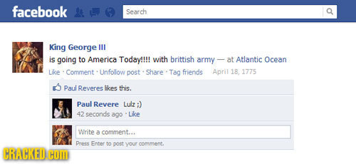 facebook Search King George IUL is going to America Today!!!! with brittish army- at Atlantic Ocean Like Comment Unfolow post Share Tag friends April