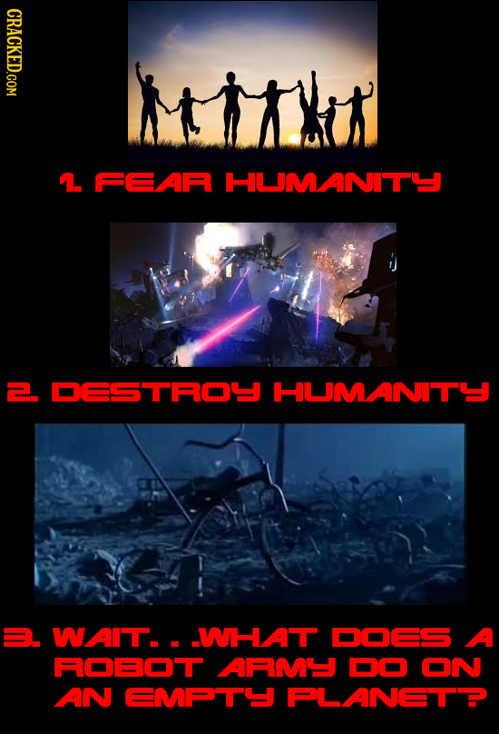 CRACKED.COM 1. FEAR HUMANITY 2. DESTROU HUMANITY . WAIT. . WHAT DOES A ROBOT ARMY DO ON AN EMATY FLANETP