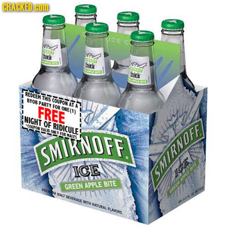 CRACKED.COM CE O ritk CAUTI ritk ORLSS cs REDEEM THIS BY08 COUPON PARTY AT FREE FOR ONE(1) NIGHT OF COUPON RIDICULE ONLY FOR SMIKNOFF MALES ICE SMIRN