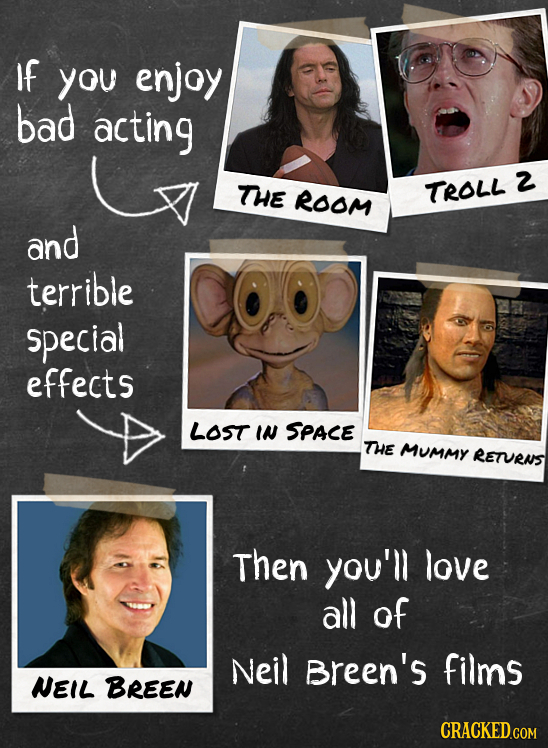 If you enjoy bad acting 2 THE ROOM TROLL and terrible special effects LOST IN SPACE THE MUMMY RETURAS Then you'll love all of Neil Breen's films NEIL