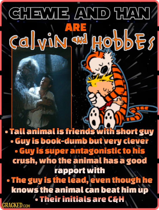 CHEWE AND HAN ARE CalviN aNd HObDES .Tall animal is friends with short guy Guy is ook-dumb but very clever Guy is super antagonistic to his crush, who