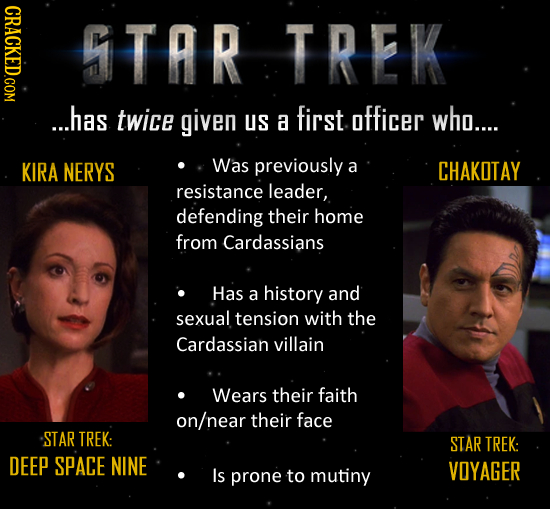 STAR TREK ...has twice given uS first a officer who.... KIRA NERYS Was previously a CHAKOTAY resistance leader, defending their home from Cardassians