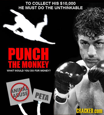 TO COLLECT HIS $10.000 HE MUST DO THE UNTHINKABLE PUNCH THE MONKEY WHAT WOULD YOU DO FOR MONEY2 ANIMA AUSE PETA CRACKED.cOM