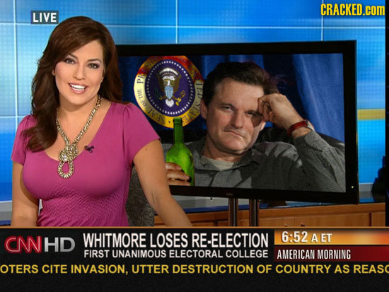 CRACKED.cOM LIVE P 1115 OF CN HD WHITMORE LOSES RE-ELECTION 6:52 AET FIRST UNANIMOUS ELECTORAL COLLEGE AMERICAN MORNING OTERS CITE INVASION, UTTER DES