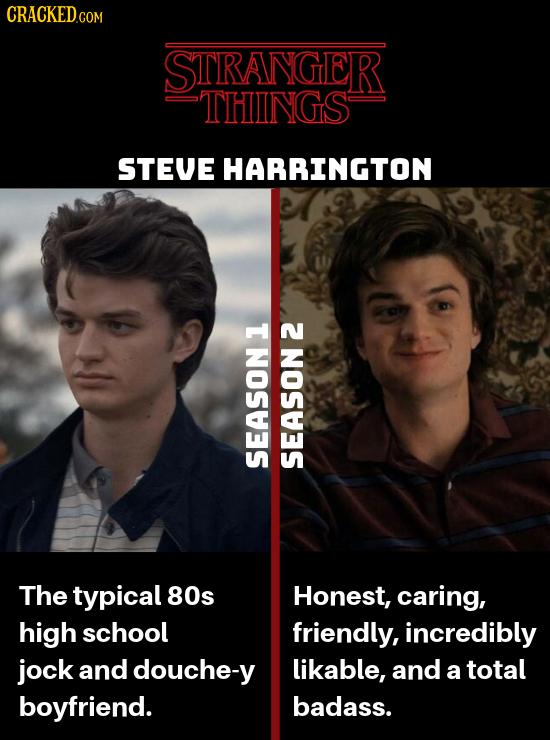 CRACKEDc COM STRANGER THINGS STEVE HARRINGTON SEASON SEASON The typical 80s Honest, caring, high school friendly, incredibly jock and douche-y likable