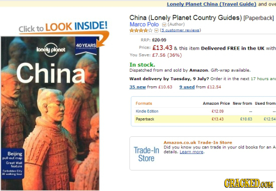 Lonely Planet China (Travel Guide) and ove China (Lonely Planet Country Guides) [Paperback] LOOK INSIDE! Marco Polo (Author) Click to AAAk RRP: f20-99