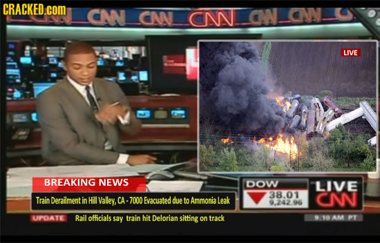 CRACKED.coM CAN CWN CNN CN NN LIVE BREAKING NEWS DOW LIVE 38.01 TrainDerailment in Hill Valley, CA- 7000 Evacuated due to Ammonial Leak CN 9.242.96 UP