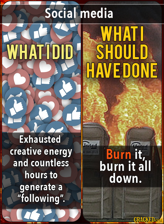 Social media WHAT I WHAT I DID SHOULD HAVEDONE Exhausted creative energy Burn it, and countless burn it all hours to down. generate a following. CRA