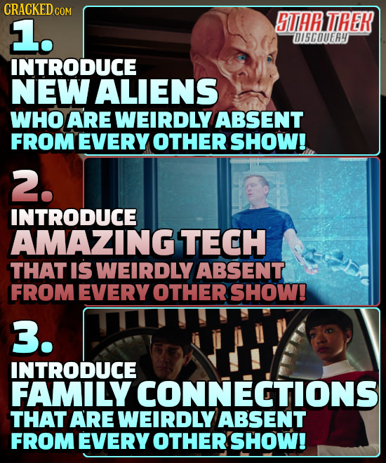 CRACKED COM 1. STAR TIHEK OI5COUER4 INTRODUCE NEW ALIENS WHO ARE WEIRDLY ABSENT FROMEVERY OTHER SHOW! 2. INTRODUCE AMAZINGTECH THAT IS WEIRDLY ABSENT
