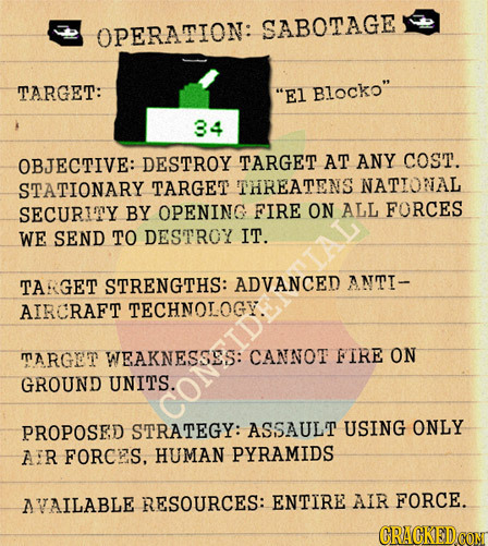 OPERATION: SABOTAGE TARGET: E1 Blocko 34 OBJECTIVE: DESTROY TARGET AT ANY coST. STATIONARY TARGET THREATENS NATIONAL SECURITY BY OPENING FIRE ON ALL