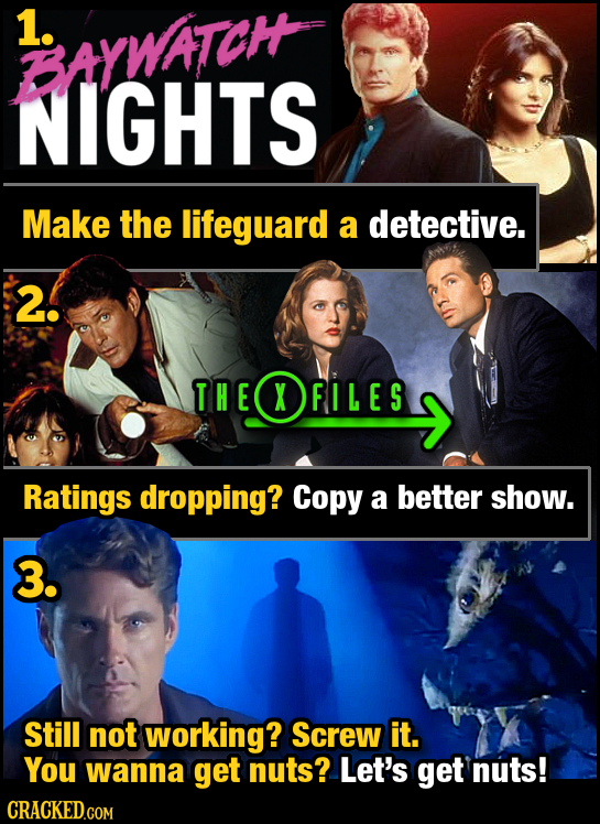 1. BAYWAIOH NIGHTS Make the lifeguard a detective. 2! THE T HEOFI L ES  XFILES Ratings dropping? Copy a better show. 3. Still not working? Screw it. Y
