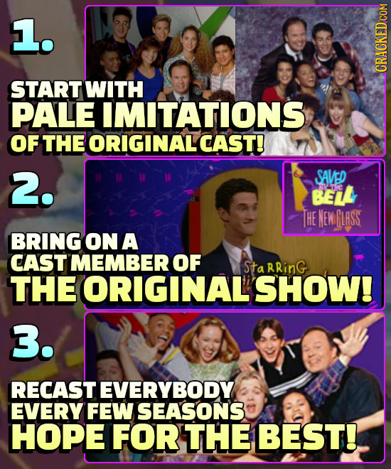1. START WITH PALE IMITATIONS OF THE ORIGINALCAST! 2. SAVED BEIL :syat.re THE MEWGLRSS BRING ON A CAST MEMBER OF Sta RRinG THE ORIGINAL SHOW! 3. RECAS