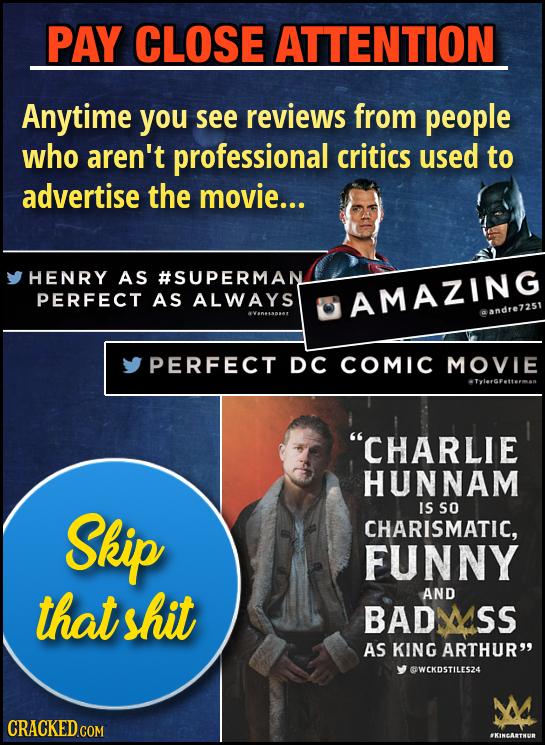 PAY CLOSE ATTENTION Anytime you see reviews from people who aren't professional critics used to advertise the movie... HENRY AS #SUPERMAN PERFECT AS A