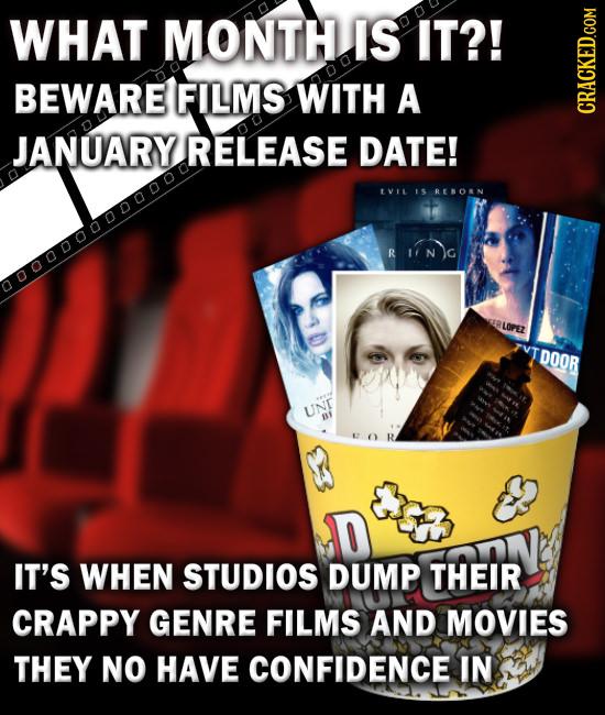 WHAT MONTH IS IT?! BEWARE FILMS WITH A CRAN JANUARY RELEASE DATE! tviL IS RERORN iNG 0000000000000 RLOPEZ DOOR UN n IT'S WHEN STUDIOS DUMP THEIR CRAPP