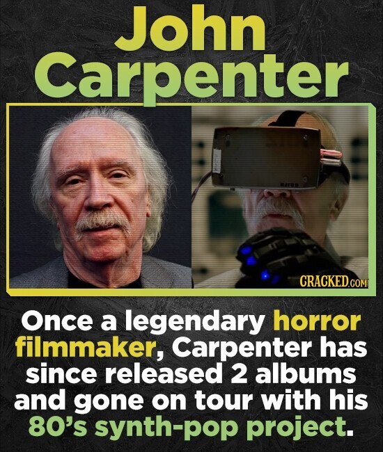 John Carpenter Once a legendary horror filmmaker, Carpenter has since released 2 albums and gone on tour with his 80's synth-pop project.
