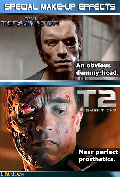 SPECIAL MAKE-UP EFFECTS THE TERMINATOR An obvious dummy-head. T JUDGMENT DAY Near perfect prosthetics.