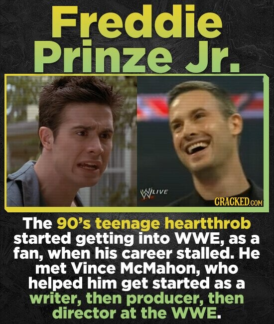 Freddie Prinze Jr. WLIve CRACKED.COM The 90's teenage heartthrob started getting into WWE, as a fan, when his career stalled. He met Vince McMahon, wh
