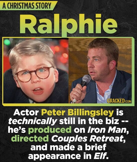 A CHRISTMAS STORY phie CRACKEDCOR Actor Peter Billingsley is technically still in the biz -- he's produced on Iron Man, directed Couples Retreat, and