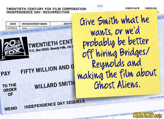 CSN TWENTIETH CENTURY FOX FILM CORPORATION CHECKDATE CHCK NO INDEPENDENCE DAY: RESURRECTION Give Swith what he DATE INVOICE/CREDIT MEMO 12270015 0 BOR