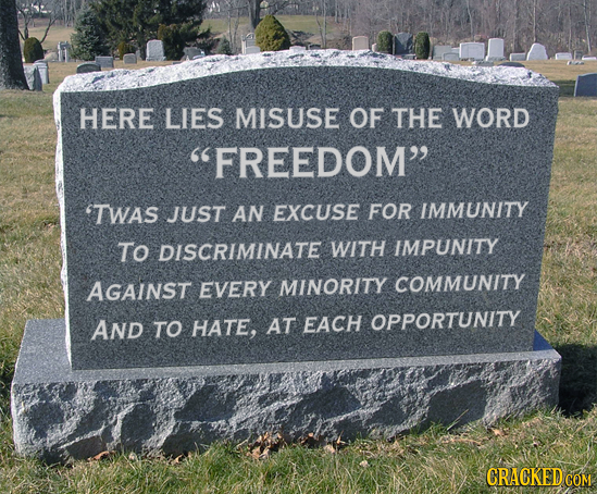 HERE LIES MISUSE OF THE WORD FREEDOM 'TWAS JUST AN EXCUSE FOR IMMUNITY To DISCRIMINATE WITH IMPUNITY AGAINST EVERY MINORITY COMMUNITY AND TO HATE, A